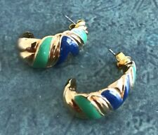 Stunning Vintage Estate Jewelry Pierced Earrings Gold Blue Green Mod Hoops