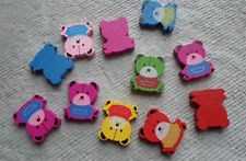 20 x Wooden ~ Teddy Bear Beads ~ Assorted Colours