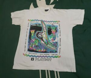 Vintage 70s 80s Playboy Magazine Wind Surfer Sail Past Shirt L Single Stitch
