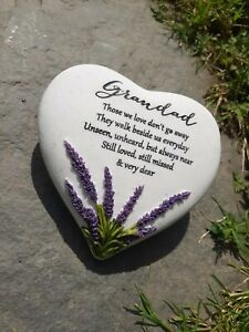 Thoughts of You Heart Stone & Lavender Graveside Memorial Grandad Grave Stone