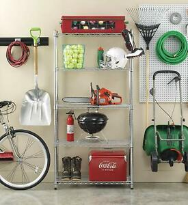 5-Shelf Storage Unit Heavy Duty Steel Wire Organiser Rack Shelving Stand 152 cm