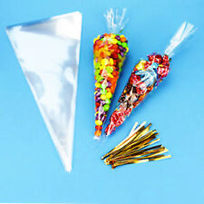 100PCS Christmas Favors Party Cone Clear Cello Bags Sweet Candy Ties Large Size
