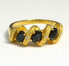 Noble Jewel Natural Sapphire 925 Sterling Silver Plated With Gold Ring
