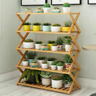 Large 4/5 Tier Fold Bamboo Flower Succulent Rack Plant Stand Storage Books Shelf