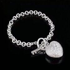 925 Sterling Silver Women's Unisex Heart Charms Bracelet A1