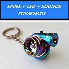 LED Electric Spinning Turbo Turbine Key Chain Keychain Ring w/ Sound -Neo Chrome