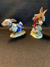 2) Royal Doulton *Billie Bunnykins Cooling Off& Jogging Bunnykins * Figurines