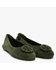 NIB Tory Burch Minnie Travel Ballet Flat Leccio Green Suede Leather 9 AUTHENTIC