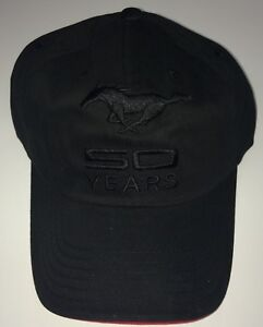 NEW BLACK ON BLACK FORD MUSTANG 50TH ANNIVERSARY EMBROIDERED HAT/CAP! LICENSED