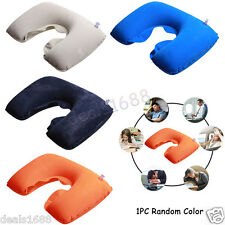 Inflatable U-Shape Pillow Headrest Comfort Pouch Car Home Travel Neck Cushion