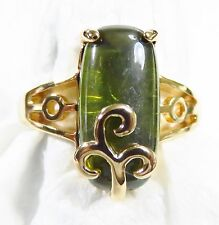 18K Gold Filled Size  8 Ring 16*8mm Peridot Gemstone