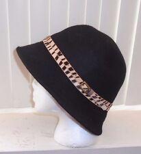 Lucky Brand Zebra Felt Cloche Black Wool Hat Calf Hair Band OSFM NWOT S/O