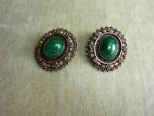 ANTIQUE HANDCRAFTED CLIP ON EARRINGS/GREEN STONE IN ELABORATE SETTING