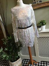 ZARA Silver Sequin Oversized Mini Jumper Dress SMALL BNWT💕Occasion