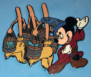 DISNEY DLR 2002 SORCERER MICKEY MOUSE FROM FANTASIA WITH DANCING BROOMS PIN