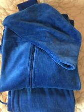Juicy Couture Women's XL JKT L Pant Blue Velour Full Zip Tracksuit