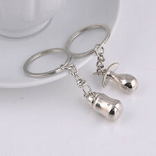 2016 Fashion Valentine's day Couple Lovely Baby Pacifier Feeding Bottle Keychain