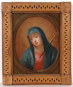 """""""Holy Mary Grieving"""", Austrian School, ca.1800, Small Oil on Canvas"""