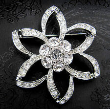 Deluxe Diamante Flower Design Stock Pin - Dressage Show