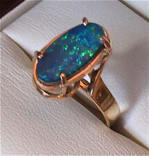 9ct Gold Ring with Stunning Black Boulder Opal!!