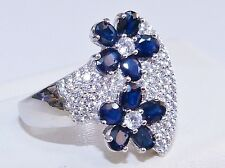 GENUINE 2.10cts! Sapphire Oval Cut, Flower Ring, Solid Sterling Silver 925!