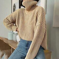 Women's  Knitted Turtleneck Sweater Oversize Pullover Long Sleeve Elegant Solid