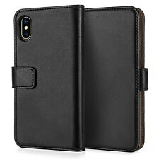 Apple iPhone XS Max 6.5 Genuine Real Leather Wallet Case Best Flip Phone Cover