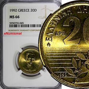 Greece 1992 20 Drachmes NGC MS66 BU Dionysios Solomos KM# 154 (045)