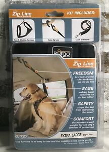 Kurgo ~ Auto Backseat Zip Line w Leash & Harness for X-Large 80+ Lbs Dog Safety