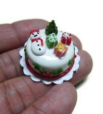 Christmas SNOWMAN Cake Dollhouse Miniature Food Bakery Holiday Xmas