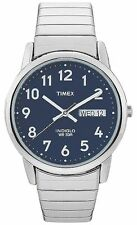 Timex T20031, Easy Reader, Men's, Silvertone Expansion, Indiglo, Day/Date