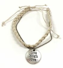 "White ""Live Laugh Love"" Teen Adjustable Bracelet New w/ Gift Bag"