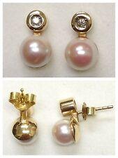 Bella 585er Perlas PENDIENTES ORO CON BRILLANTES Pendientes Oro Joya de oro