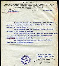 1947 - Associazione Nazionale Partigiani d'Italia - sez. Verrés - Documento