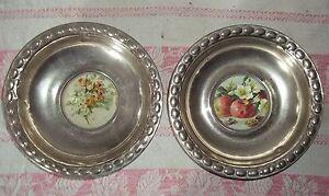 2 Teller-Metall-Glasbild-Schale-Platte-Obstschale