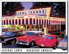 "Steak N Shake Drive In Hot Rods Corvette Beach Surfboard 12.5""X16"" Metal Sign"