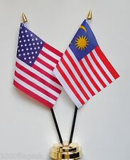 United States of America & Malaysia Double Friendship Table Flag Set