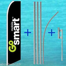 GO SMART MOBILE FLUTTER FEATHER FLAG + 15' TALL POLE + MOUNT Swooper Banner Sign