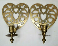 Vintage Pair Wall Mount Solid Brass Heart Shape Candle Holder Wall Sconces