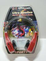 Coby Ultra Slimline Sports AM/FM Headphone Radio CX-21 RED Headset (RARE)