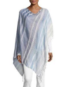 Echo Striped Asymmetric Tassel Poncho, Swim Cover-Up - Blue - One Size #5623