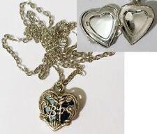 pendentif porte photo bijou vintage coeur fleur lettre BF couleur argent * 4343