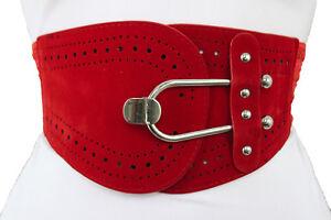 Women High Waist Hip Gold Metal Hook Buckle Fashion Elastic Red Fabric Belt S M