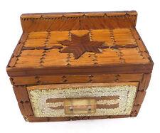 Mid Century Folk Art Handmade Box w' Drawer Inlaid Wood Design Glitter