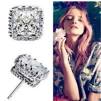 Jewelry 925 Sterling Silver Plated Topaz Gemstone Square Ear Stud Earrings Women