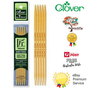 Clover Double Ended Knitting Needles - Takumi Pointed Bamboo - Many Sizes