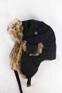Fjallraven Heater Trapper Hat Black Faux Fur Warm size M