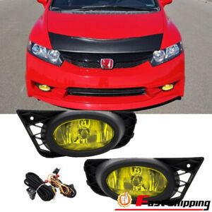 Fit 2009-2011 Honda Civic Sedan 4Dr JDM Yellow Lens Fog Light Lamps Switch+Wring
