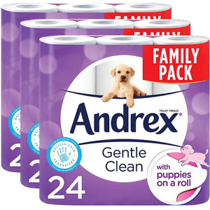 24X3 Andrex Gentle Clean Toilet Roll Tissue Paper Puppies On a Roll (Pack of 72)