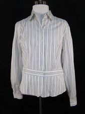 LIZ CLAIBORNE White Beige Long Sleeve Button Front Stripe Cotton Career Blouse 6